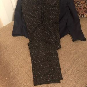 Talbots black w/red dot Hampshire ankle pant NWT